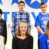 Submitted photo<br /> The honored students later posed for a formal photo on the commons stage. Each month Batesville Middle School recognizes an outstanding boy and girl from each grade level for their hard work and dedication to academic success. Students recognized in December are (front row from left) sixth-grader Angela Diaz, seventh-grader Margaret Weberding and eighth-grader Breanna Wells; (standing) sixth-grader Emiliano Lopez, seventh-grader Emiliano Lopez and eighth-grader Braiden Foster.