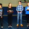 Debbie Blank | The Herald-Tribune<br /> Then six were applauded as Students of the Month: (from left) sixth-graders Angela Diaz and Emiliano Lopez, seventh-graders Margaret Weberding and Ethan Goodin and eighth-graders Breanna Wells and Braiden Foster.