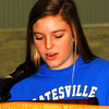 Debbie Blank | The Herald-Tribune<br /> The Batesville Middle School convocation on Dec. 20, the last day of school before the holiday vacation, began with Student Council Leadership Team member Brayleigh Patterson leading the Pledge of Allegiance and reading the announcements.