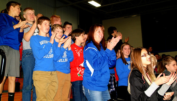 "Debbie Blank | The Herald-Tribune<br /> The assembly turned into an exuberant pep rally as principal Dave Strouse received a standing ovation from students and staff for being honored as the 2017 State Middle School Principal of the Year. Family and consumer sciences teacher Megan Spreckelson told them, ""Each and every one of you should be proud to be a Bulldog .... Mr. Strouse is proof you can become anything you want to be."""