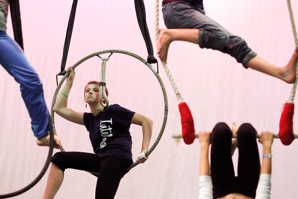 Record-Eagle/Jan-Michael Stump<br /> Jen Keyser watches students practice for their upcoming Starfish Circus performance Tuesday in the auditorium at Traverse City West High School.