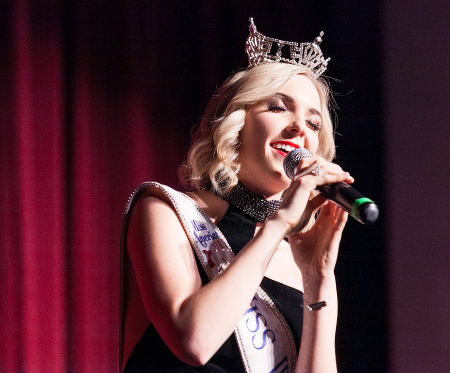 "Tibby McDowell | The Sheridan Press<br /> Miss Wyoming 2017 Cheyenne Buyert sings ""Puttin' on the Ritz"" as a special guest performance in Stars of Tomorrow at the WYO Performing Arts and Education Center Friday Feb. 23, 2018."
