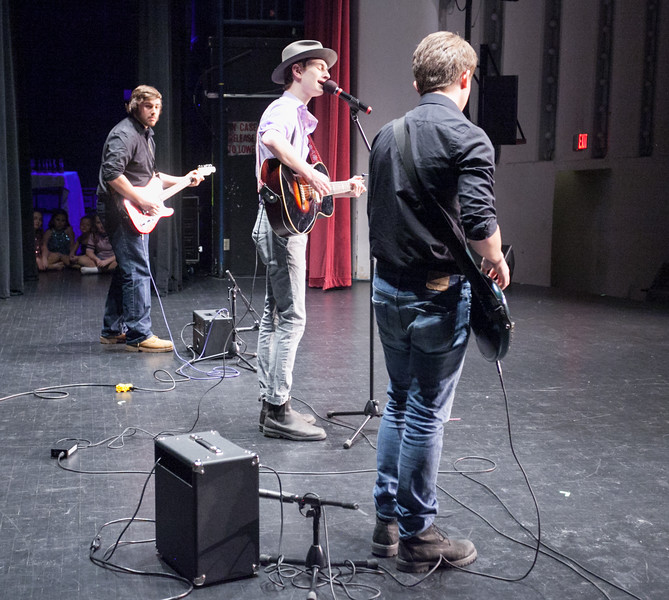 "Tibby McDowell | The Sheridan Press<br /> Nick Gale, left, Will Carft, center, and Nick Gale perform their original song ""Where Everything Ends & Nothing's Begun"" during Stars of Tomorrow at the WYO Performing Arts and Education Center Friday Feb. 23, 2018."