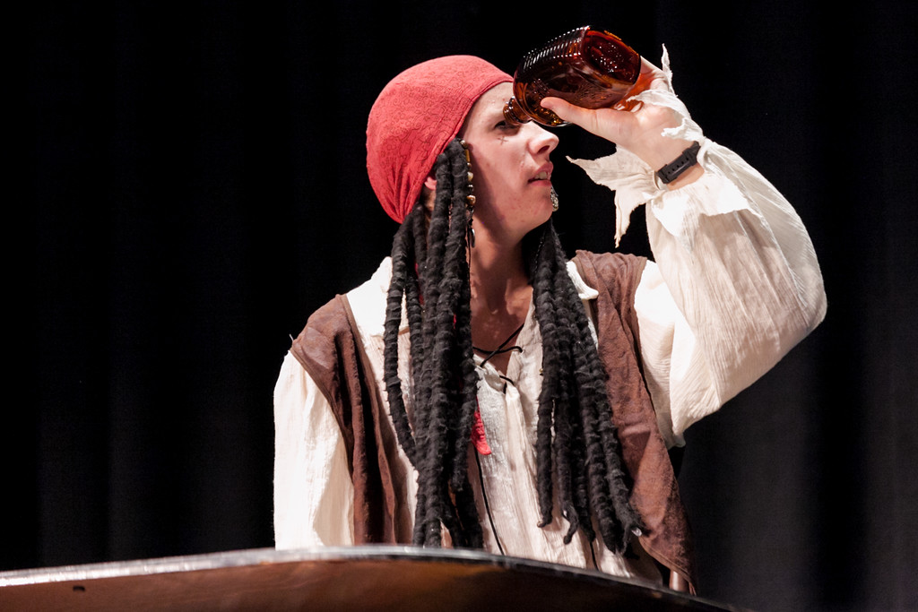 Tibby McDowell | The Sheridan Press<br /> Pirate Hunter Andersen looks for more rum at the beginning of his piano solo in Stars of Tomorrow at the WYO Performing Arts and Education Center Friday Feb. 23, 2018.