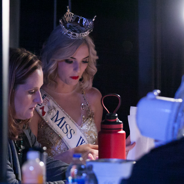 Tibby McDowell | The Sheridan Press<br /> Jennifer Kahn, left, and Miss Wyoming 2017 Cheyenne Buyert go over commentary prior to show time for Stars of Tomorrow at the WYO Performing Arts and Education Center Friday Feb. 23, 2018.