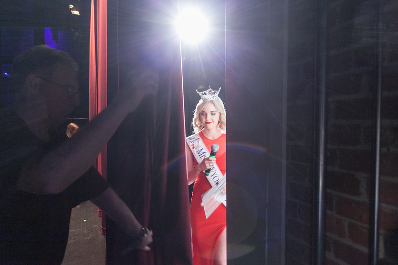 Tibby McDowell | The Sheridan Press<br /> Jim Wilhelm, left, holds the curtain for Miss Wyoming 2017 Cheyenne Buyert during Stars of Tomorrow at the WYO Performing Arts and Education Center Friday Feb. 23, 2018.