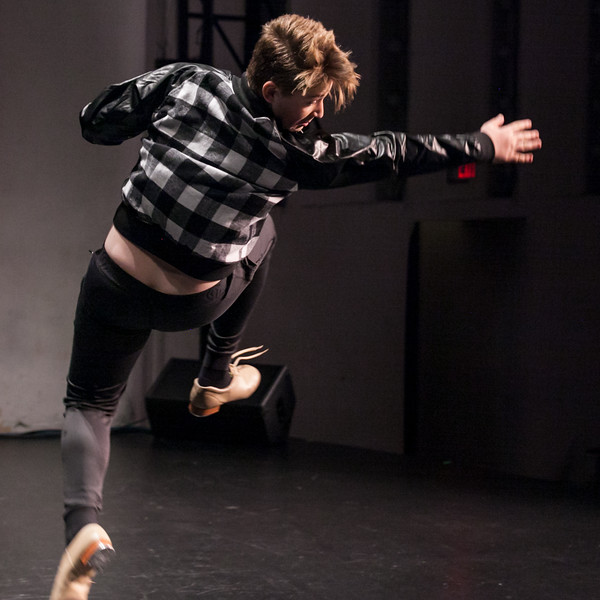 Tibby McDowell | The Sheridan Press<br /> Ethan McGill catches air during a tap dance performed with Ashley Thompson in Stars of Tomorrow at the WYO Performing Arts and Education Center Friday Feb. 23, 2018.