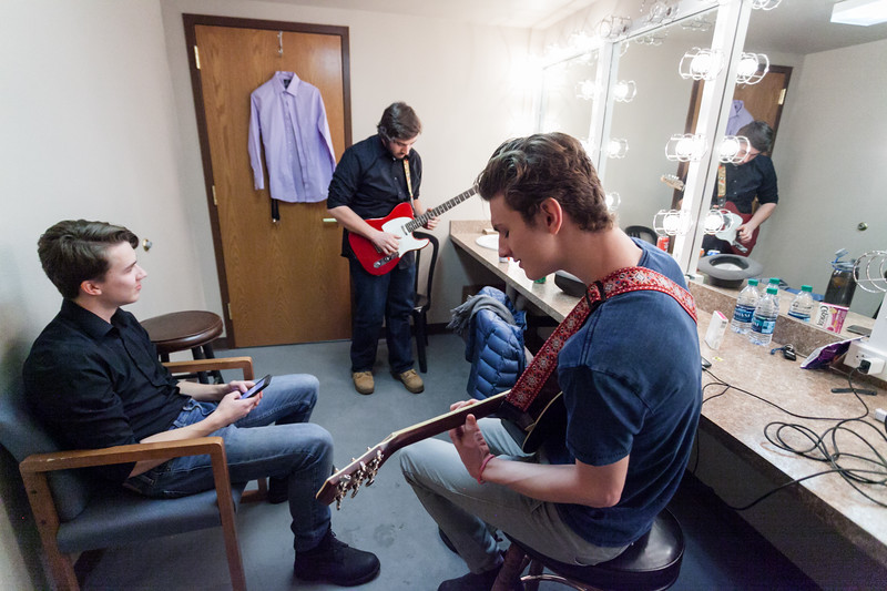 Tibby McDowell | The Sheridan Press<br /> Thomas Detmer, left, Nicholas Gale, center, and Will Craft warm up prior to performing in Stars of Tomorrow at the WYO Performing Arts and Education Center Friday Feb. 23, 2018.