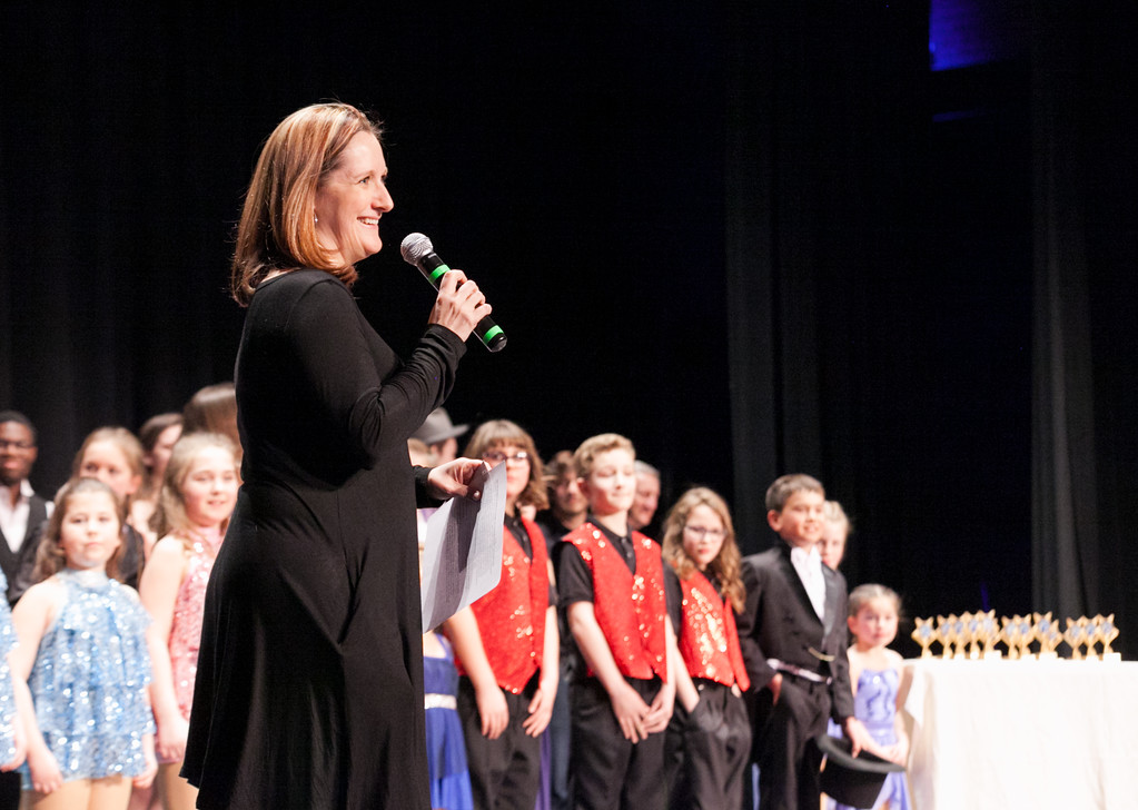 Tibby McDowell | The Sheridan Press<br /> Jennifer Kahn gets ready to announce the winners for Stars of Tomorrow at the WYO Performing Arts and Education Center Friday Feb. 23, 2018.