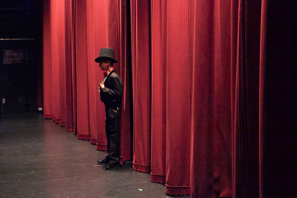 Tibby McDowell | The Sheridan Press<br /> Jory Githens waits for the curtain to open to start his performance for Stars of Tomorrow at the WYO Performing Arts and Education Center Friday Feb. 23, 2018.