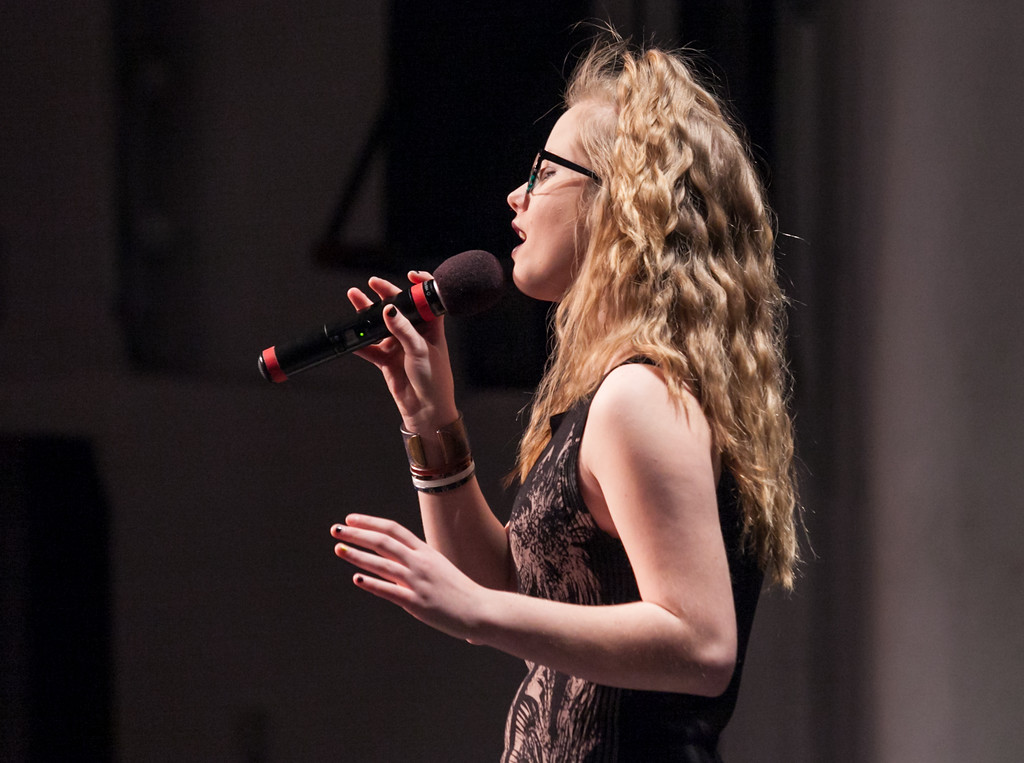 "Tibby McDowell | The Sheridan Press<br /> Lainey Perkins performs a vocal solo ""Fly"" in Stars of Tomorrow at the WYO Performing Arts and Education Center Friday Feb. 23, 2018."