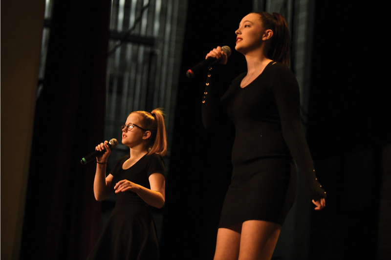 "Matthew Gaston | The Sheridan Press<br>From left, Lainey Perkins and Lani Ross sang ""Rip Tide"" by Vance Joy as a duet for their audition for ""Stars of Tomorrow"" Thursday, Feb. 7, 2019."