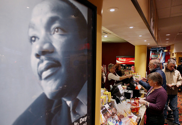 Record-Eagle/Keith King<br /> A poster of Martin Luther King Jr. is displayed Monday, January 16, 2012 at the State Theatre on Martin Luther King Jr. Day.