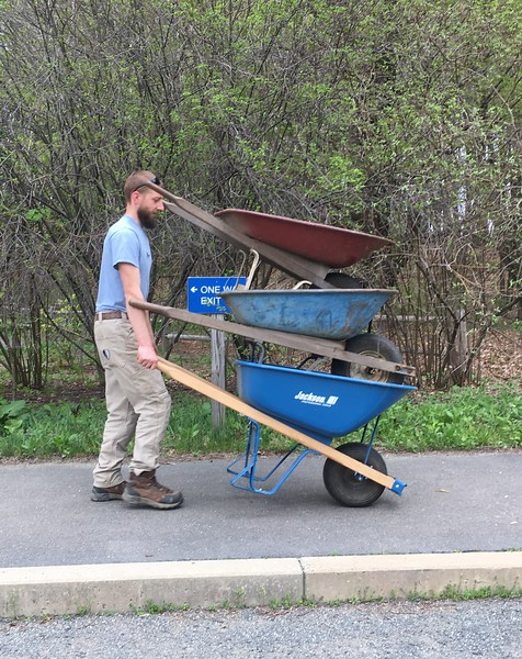 Wheel barrels rack up the miles during Statewide Volunteer Day.