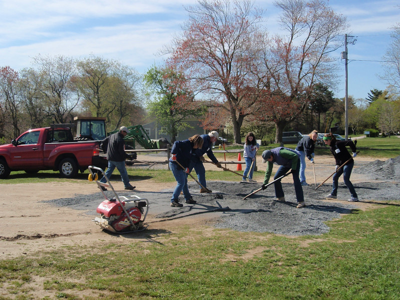 We worked up a sweat spreading and compacting 28 tons of gravel.