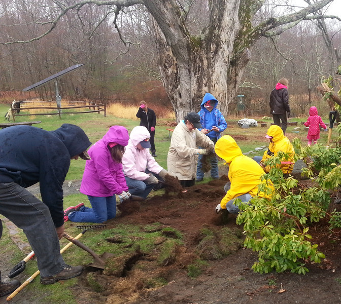 Volunteers created 2 new gardens  . . .