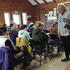 At Drumlin Farm, volunteers got an up-close look at a Barred Owl . . .