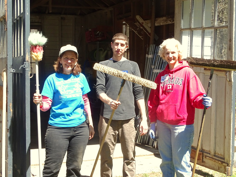 Other volunteers tackle spring cleaning, and there's plenty to do, indoors and out.