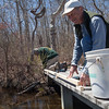 Volunteers make the trail more accessible by installing bumpers on the boardwalk at Felix Neck.<br /> (c) Sam Moore