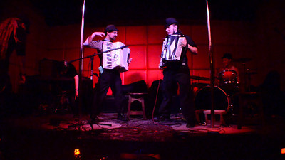 Event: Vintage Vagabond Xmas Ball: MC Sxip Shirey, Copal, This Way to the EgressAccordion battle between Matt Dallow (left) and Taylor Egress! HYAH!