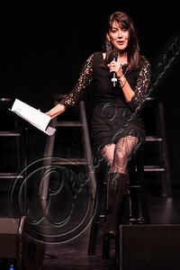 "HOLLYWOOD, CA - JULY 28:  Comedienne Stephanie Miller performs at the ""Sexy Liberal"" comedy tour at the Pantages Theatre on July 28, 2012 in Hollywood, California.  (Photo by Chelsea Lauren/WireImage)"