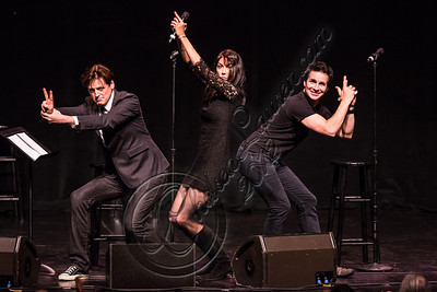 "HOLLYWOOD, CA - JULY 28:  (L-R) Actor John Fugelsang, comedienne Stephanie Miller and actor Hal Sparks perform at the ""Sexy Liberal"" comedy tour at the Pantages Theatre on July 28, 2012 in Hollywood, California.  (Photo by Chelsea Lauren/WireImage)"