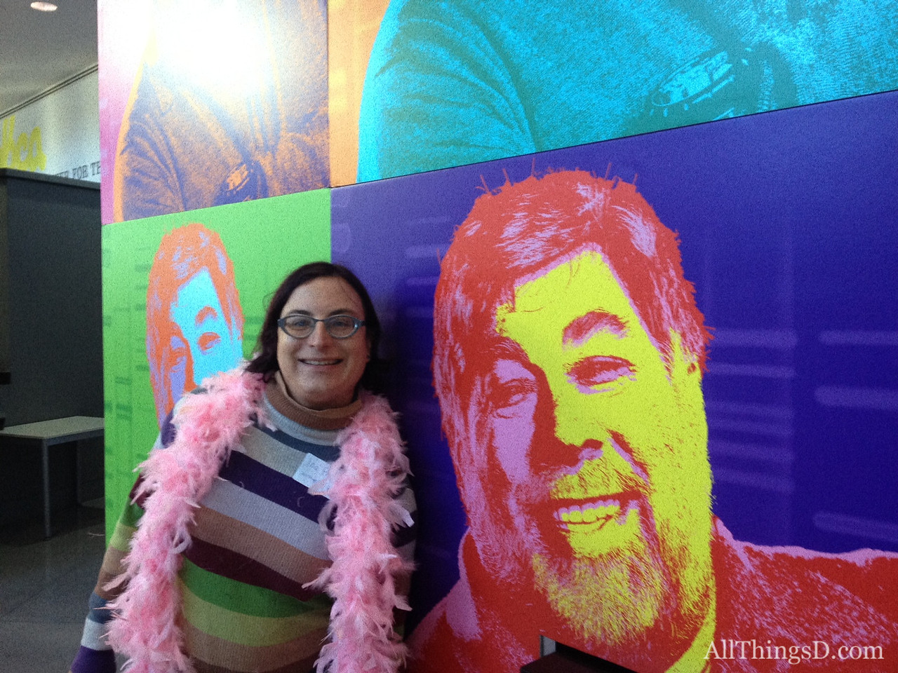 AllThingsD's Ina Fried with the Woz-Warhol.