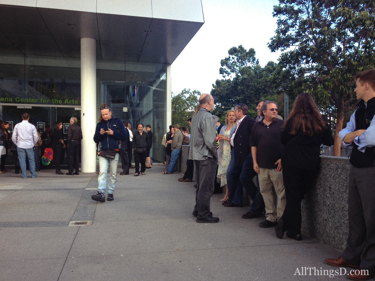 Guests line up outside the Yerba Buena Center for the Arts in San Francisco for Steve Wozniak's surprise birthday party.