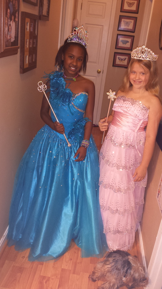 Raven and Morgan (5th grade/White) <br /> dress up as princesses