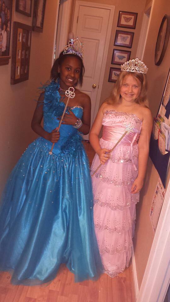 Raven and Morgan dress up as princesses