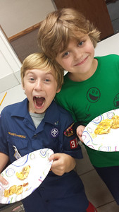 Gabe & Avery of Ms. Keckler's class make omelettes at scouts