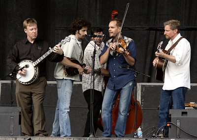 The Foggy Hogtown Boys closed the show. L-R: Chris Quinn, Andrew Collins, Max Heinemann, John Showman, Chris Coole.