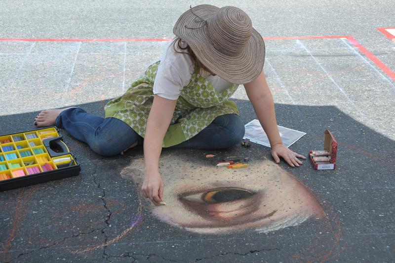 One eye down... Theresa Knopf Morgan at work