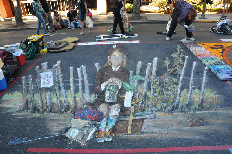 The Saturday Evening Post inspired street painting