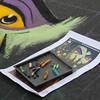Athena Balastreri works on a Disney inspired street painting