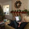 Maggi at work in her livingroom