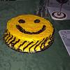 Smiley-face birthday cake.