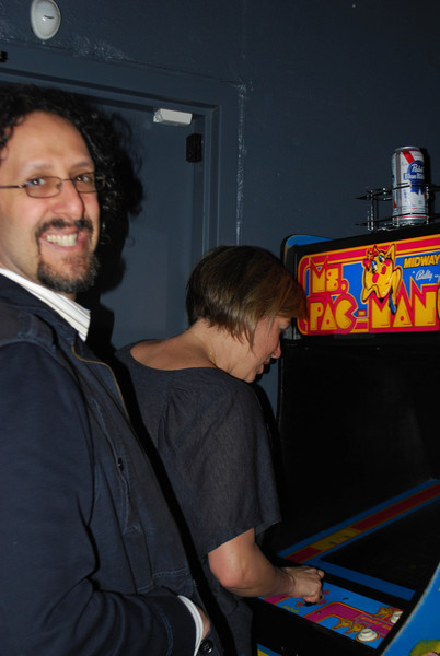 Amy & Dan in the Ms. Pacman challenge (Amy won)