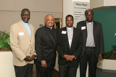 During a June 24 visit to the Catholic Center, Archbishop Wilton D. Gregory, second from left, meets with (l-r) Sudanese Bishop Rudolf Deng Majak of the Diocese of Wau, Bishop Eduardo Hiiboro Kussala of the Diocese of Tombura-Yambio, and Auxiliary Bishop Daniel Adwok Kur of the archdiocese of Khartoum.