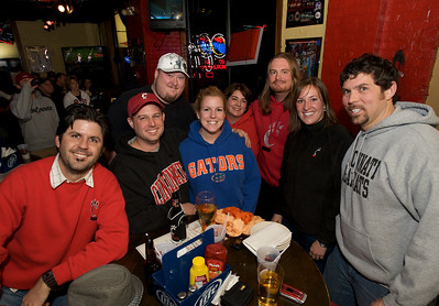 Adam, Brian, Mike, Amanda, Beth, Brian, Emily and Keith of Cincinnati at the Holy Grail in Clifton for the Sugar Bowl