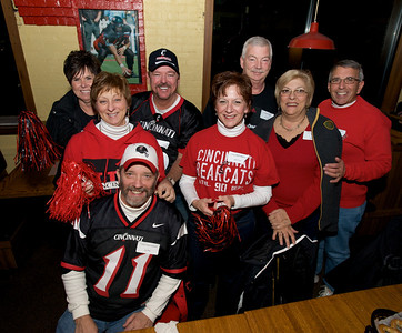 Diane, Robin, Mike, Ron, Donna, Dave, Carol and Gary of Delhi at the Holy Grail in Clifton for the Sugar Bowl