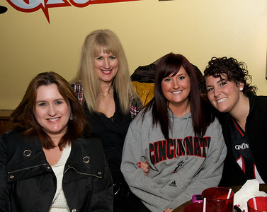 Jeanette, Karen and Miranda of Cincinnati and Maddy from Cleveland at the Holy Grail in Clifton for the Sugar Bowl