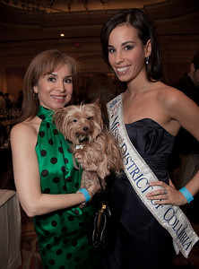 Teri Galbez holding Zsa Zsa (a yorki) Sephanie Williams, Miss District of Columbia