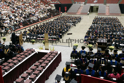 Summer graduates and guests listen to Monkombu Sambasivan Swaminathan.  Swaminathan received an honorary degree during the 2006 Summer Graduation Commencement held in Hilton Coliseum on Saturday, August 05, 2006.