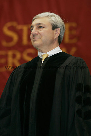 Graham B. Spanier stands while being recognized before receiving an honorary degree during the 2006 Summer Graduation Commencement held in Hilton Coliseum on Saturday, August 05, 2006.