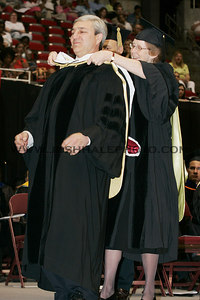 Graham B. Spanier (left) receiving an honorary degree during the 2006 Summer Graduation Commencement held in Hilton Coliseum on Saturday, August 05, 2006.