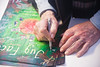 Signing the movie posters of Jug Face Slamdance Park City