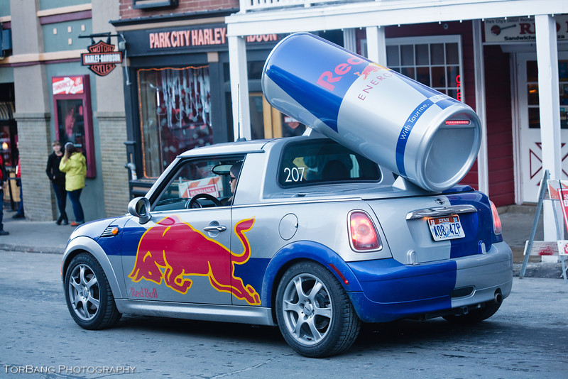 Red Bull Car Going Down Main ST durring Sundance