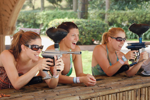 Three beauties from down-under playing paintball target practice. I forgot to take their numbers and so don't bug me for it.