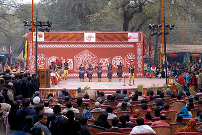Dance in the open theatre at Suraj Kund Mela 2008 held in Haryana (outskirts of Delhi), North India. The Suraj Kund Mela is an annual fair held near Delhi. Folk dances, handicrafts and a lot of fun.